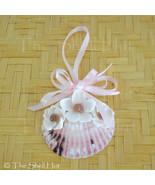 Seashell Christmas Ornament Pink Shell White Shell Flowers Beach House #27 - $9.99