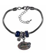 "Florida Gators Euro Bead Bracelet Silver Tone 7.5"" - 9"" Snake Chain - $13.95"