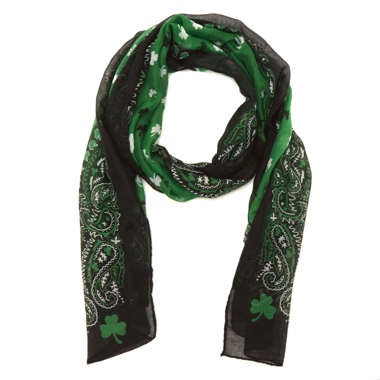 Primary image for St. Patrick's Day Shamrock Scarf Green Black White Paisley Design NWT