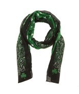 St. Patrick's Day Shamrock Scarf Green Black White Paisley Design NWT - $7.49