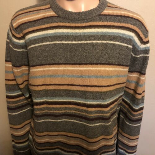 Men's J.Crew Long Sleeve 100% Wool Striped XL Winter Sweater Gray Maroon Teal