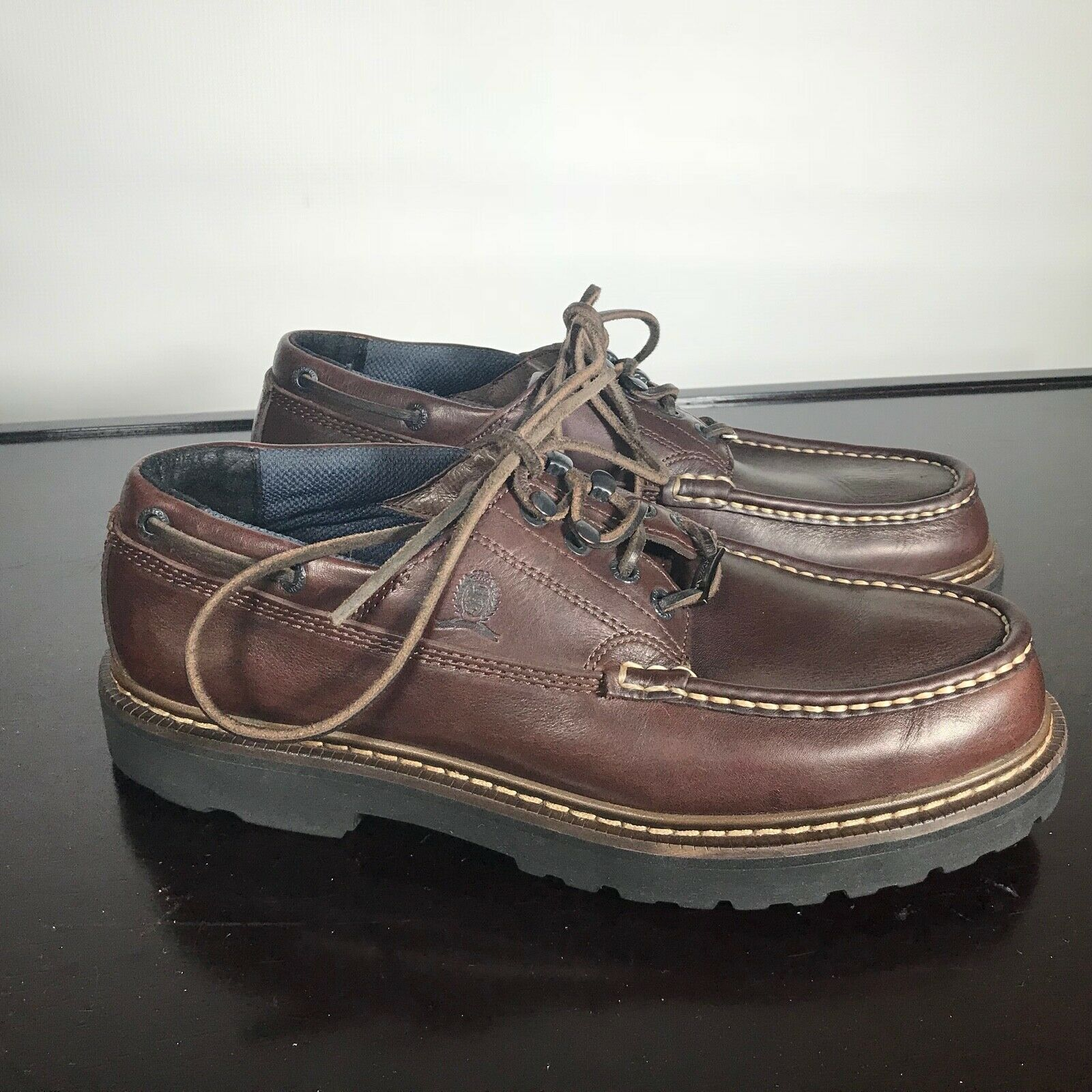 Primary image for Tommy Hilfiger Heavy Duty Leather Boat Shoes Men's Size 11 M Brown. Waterproof