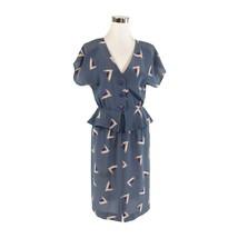 Gray purple geometric short batwing sleeve vintage peplum dress S - $44.99