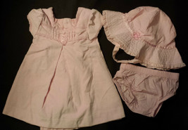 Girl's Size 3 M 0-3 Months Carter's 3 Piece Set Pink Dress, Diaper Cover... - $18.10