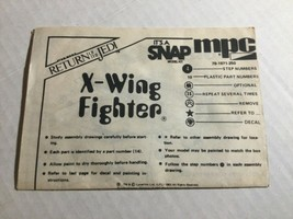 1983 Vintage Star Wars MPC Model X-Wing Fighter Instructions Manual Catalog - $19.79