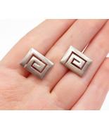 925 Sterling Silver - Vintage Greek Key Meander Design Square Cuff Links... - $30.11