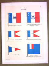 FLAGS FRANCE Colonies Governor Captain Naval Marine - 1899 Color Antique... - $13.05