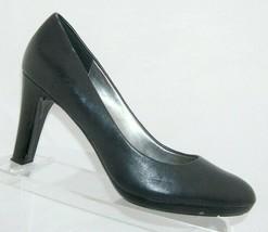 Anne Klein iflex 'Clemence' black leather round toe slip on platfform heels 8.5M - $31.43
