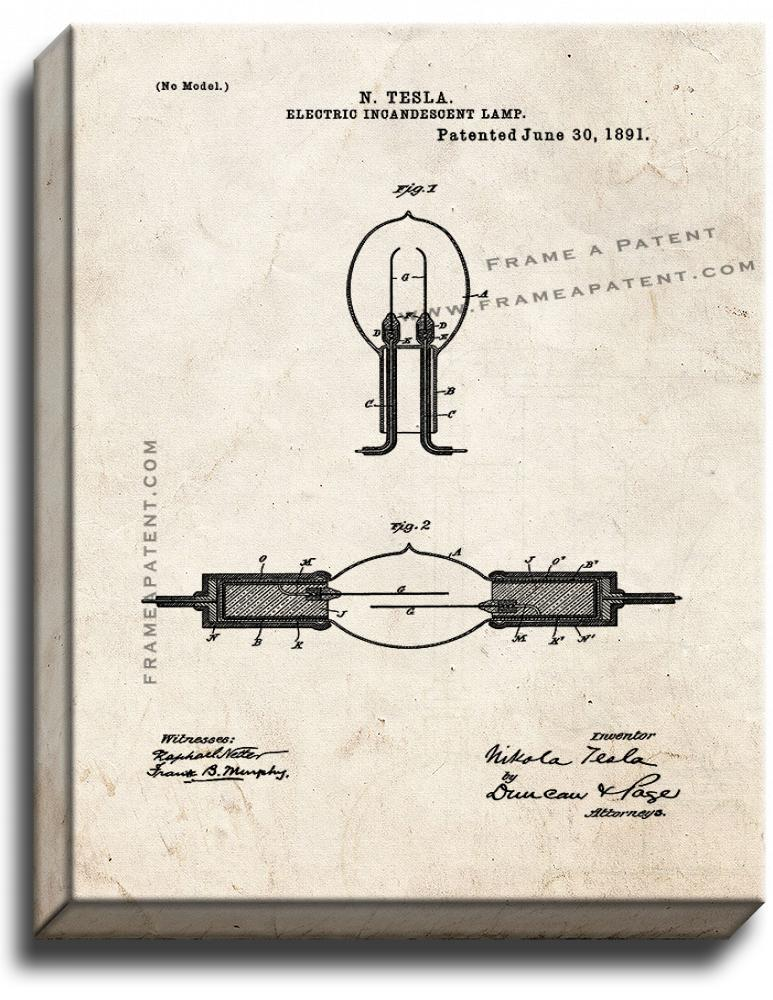 Primary image for Electric Incandescent Lamp Patent Print Old Look on Canvas