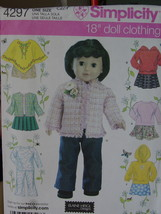 "Sewing Pattern 4297 Fall Clothing 18"" Doll Like American Girl etc (CUT) - $5.00"
