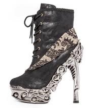 Hades MINA Black Victorian Steampunk Ankle Boots Proteus Metallic High H... - $210.03