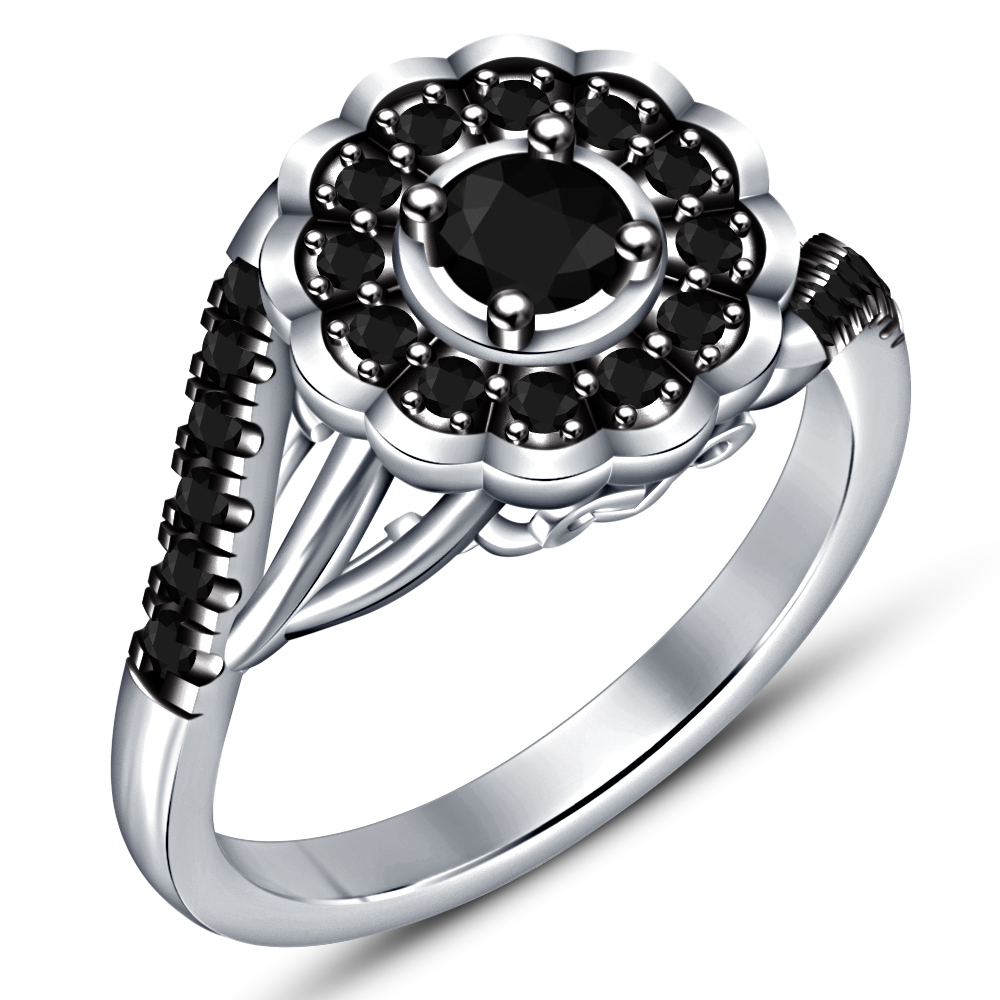 Round Cut Black CZ Halo Bridal Wedding Ring Set 14k White Gold Plated 925 Silver