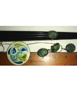 VTG ENAMEL COPPER PIN STERLING SILVER JADE NECKLACE RING SCREWBACK EARRI... - $367.99