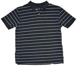 EUC Old Navy Boys Size Large Short Sleeve Gray White Stripe Collar Shirt - $8.86