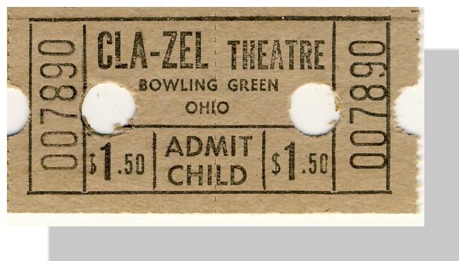 Bowling green cla zel  ticket tan 1.50 single