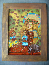 The guardian angel ( painting folk art country ... - $114.00