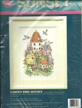 "Sunset Cross Stitch Kit "" Garden Bird Houses"" - $19.95"