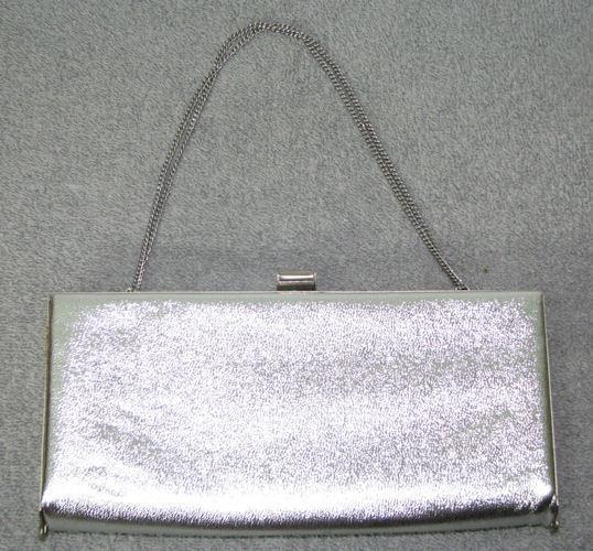 Vintage Silver LAME Metallic Evening Bag Purse