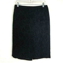 Ann Taylor Womens Black Floral Texture Wool Blend Lined Pencil Skirt Size 8 - $17.36
