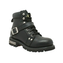 "WOMEN'S 6"" YKK ZIPPER BLACK LEATHER MOTORCYCLE BIKER BOOT SIZE 6.5M-WIDTH - $108.85"