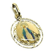 PENDANT MEDAL, YELLOW GOLD 750 18K, MIRACULOUS, DOUBLE FRAME, ENAMEL - $165.87