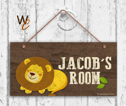 Lion Sign, Woodland Personalized Sign, Kid's Name, Kids Door Sign, 5x10 ... - $16.29