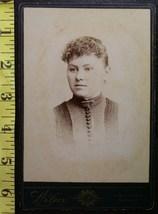 Cabinet Card Pretty Lady Buttoned Dress Vignette! c.1866-80 - $5.60