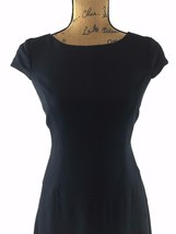 Anne Klein dress 6 medium classic black texture cap sl A line tier lined... - $21.90