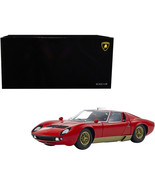 Lamborghini Miura S Red and Gold 1/18 Diecast Model Car by Kyosho 08316R - $250.11
