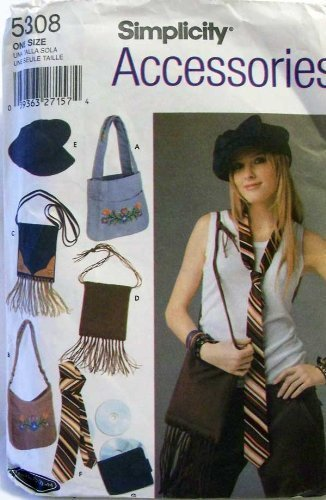 Simplicity 5308 Sew Pattern ~ Juniors' Bags, Tie, CD Case and Hat