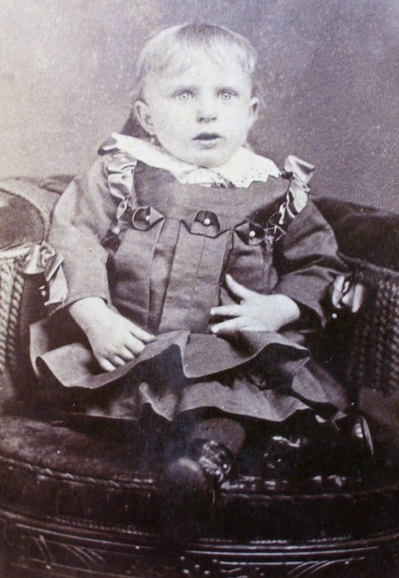 Cabinet Card Cute Young Blond Girl in Chair Dated 1891!