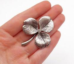 NAPIER 925 Silver - Vintage Etched 3 Leaf Clover Designed Brooch Pin - B... - £35.86 GBP