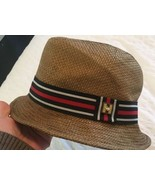 PETER GRIMM Dark Straw Natural Fiber Paper Moldable Fedora Hat Lg/xlg - $15.47