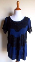 A.N.A. ~ MEDIUM BLUE BLACK LACE SHORT SLEEVE KNIT TOP - $11.13