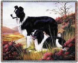70x53 Border Collie Dog Tapestry Afghan Throw Blanket - $60.00