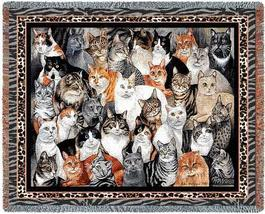 70x54 GROUP of CATS Kitty Tapestry Afghan Throw Blanket - $60.00