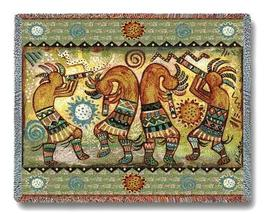 70x54 KOKOPELLI Dancer Southwest Afghan Throw Blanket - $60.00