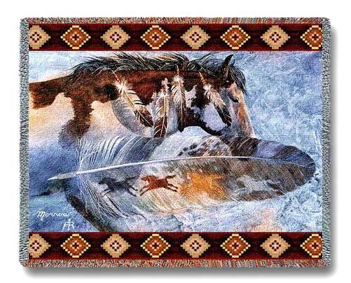 "70""x54"" HORSE Feathers Southwest Afghan Throw Blanket"