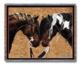 70x53 HORSE Western Southwest Afghan Throw Blanket - $60.00