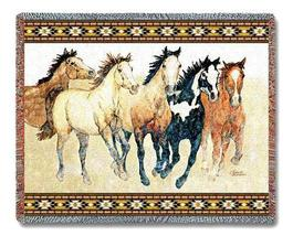 "70""x53"" HORSES Running Southwest Afghan Throw Blanket - $49.95"