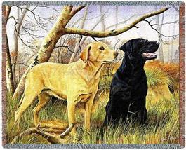 70x54 Yellow Black LAB LABRADOR Dog Tapestry Throw Blanket - $60.00