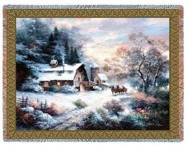 "70"" Country Cottage Winter Snow JACQUARD Throw Blanket  - $49.95"