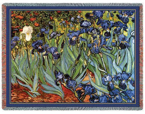 70x54 Van Gogh IRISES Floral Tapestry Throw Blanket