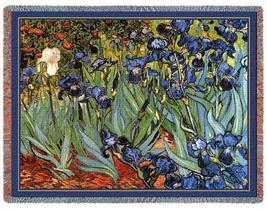 70x54 Van Gogh IRISES Floral Tapestry Throw Blanket  - $60.00