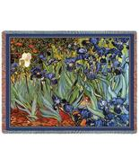 70x54 Van Gogh IRISES Floral Tapestry Throw Bla... - $49.95