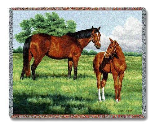 70x54 HORSE Colt Western AFGHAN Tapestry Throw Blanket