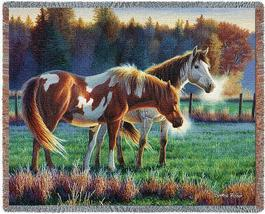 70x53 HORSE Pasture Field Buddies Afghan Throw Blanket - $60.00