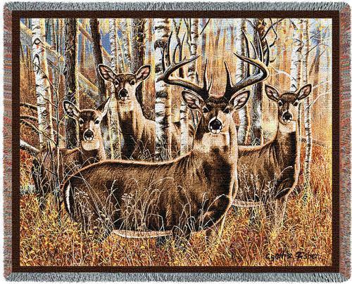 70x53 DEER Buck Doe TAPESTRY Afghan Throw Blanket