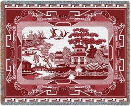70x54 WILLOW RED China Asian Tapestry Throw Blanket  - $60.00