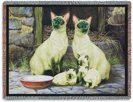 70x53 SIAMESE CAT Tapestry Afghan Throw Blanket  - $60.00